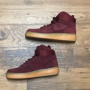 High Top Suede Air Force 1s Burgundy
